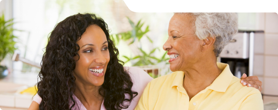smiling caregiver and her patient